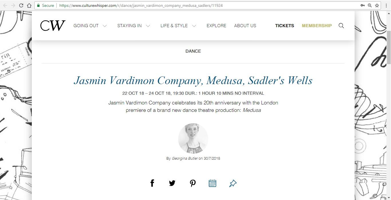 Screenshot of Culture Whisper content by Georgina Butler. Preview of Jasmin Vardimon Company: Medusa, image 1