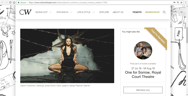Screenshot of Culture Whisper content by Georgina Butler. Preview of Jasmin Vardimon Company: Medusa, image 2