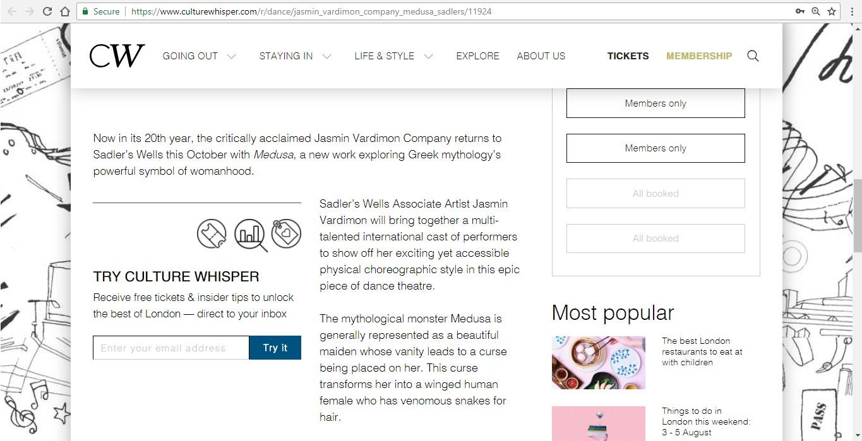 Screenshot of Culture Whisper content by Georgina Butler. Preview of Jasmin Vardimon Company: Medusa, image 3