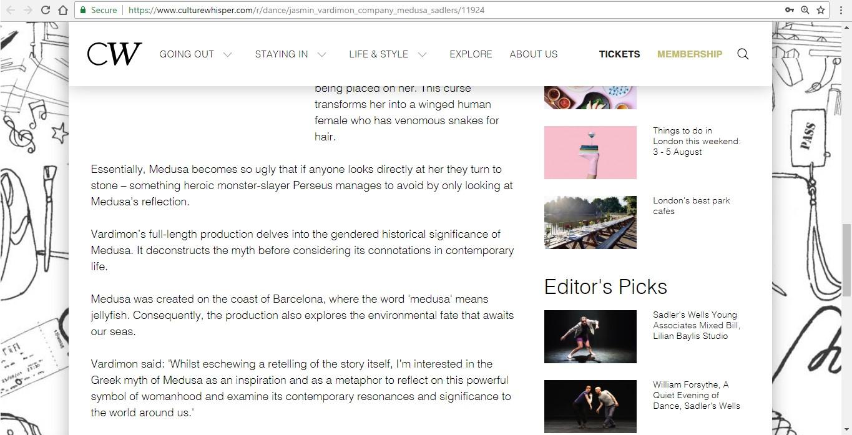 Screenshot of Culture Whisper content by Georgina Butler. Preview of Jasmin Vardimon Company: Medusa, image 4