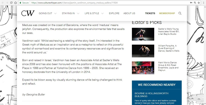 Screenshot of Culture Whisper content by Georgina Butler. Preview of Jasmin Vardimon Company: Medusa, image 5