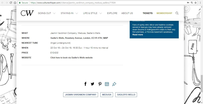 Screenshot of Culture Whisper content by Georgina Butler. Preview of Jasmin Vardimon Company: Medusa, image 6