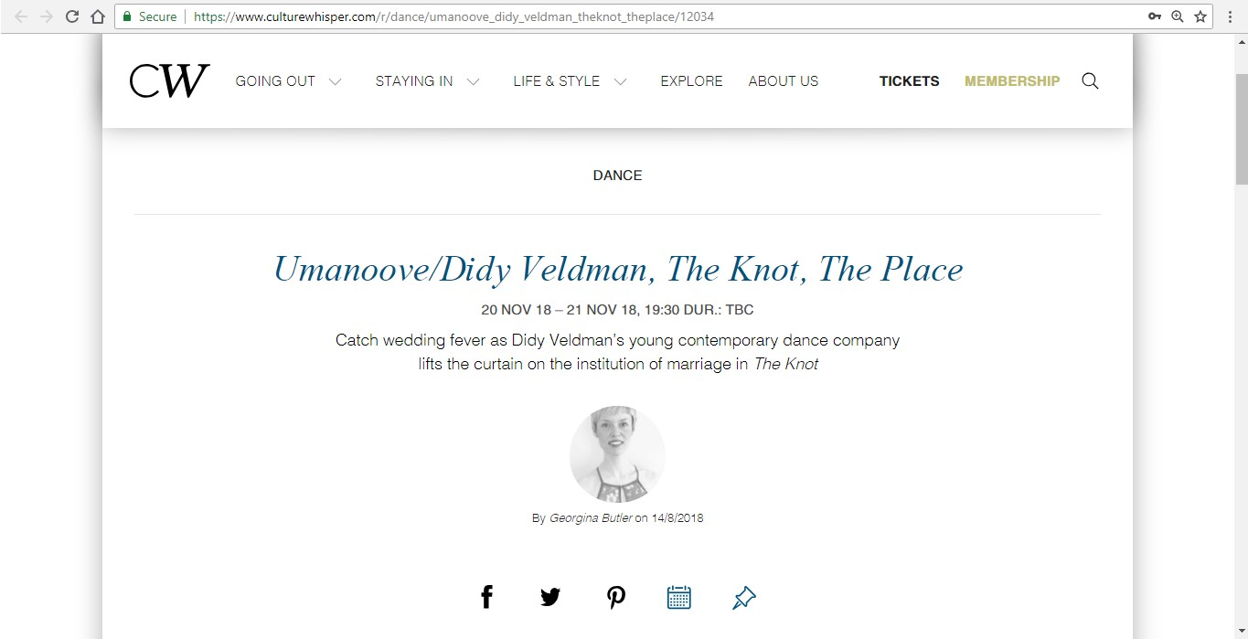 Screenshot of Culture Whisper content by Georgina Butler. Preview of Umanoove and Didy Veldman: The Knot, image 1