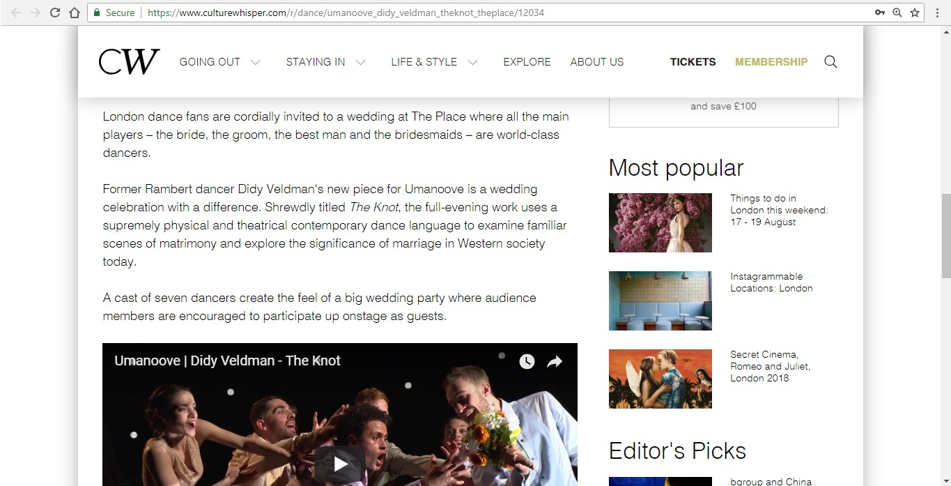 Screenshot of Culture Whisper content by Georgina Butler. Preview of Umanoove and Didy Veldman: The Knot, image 3