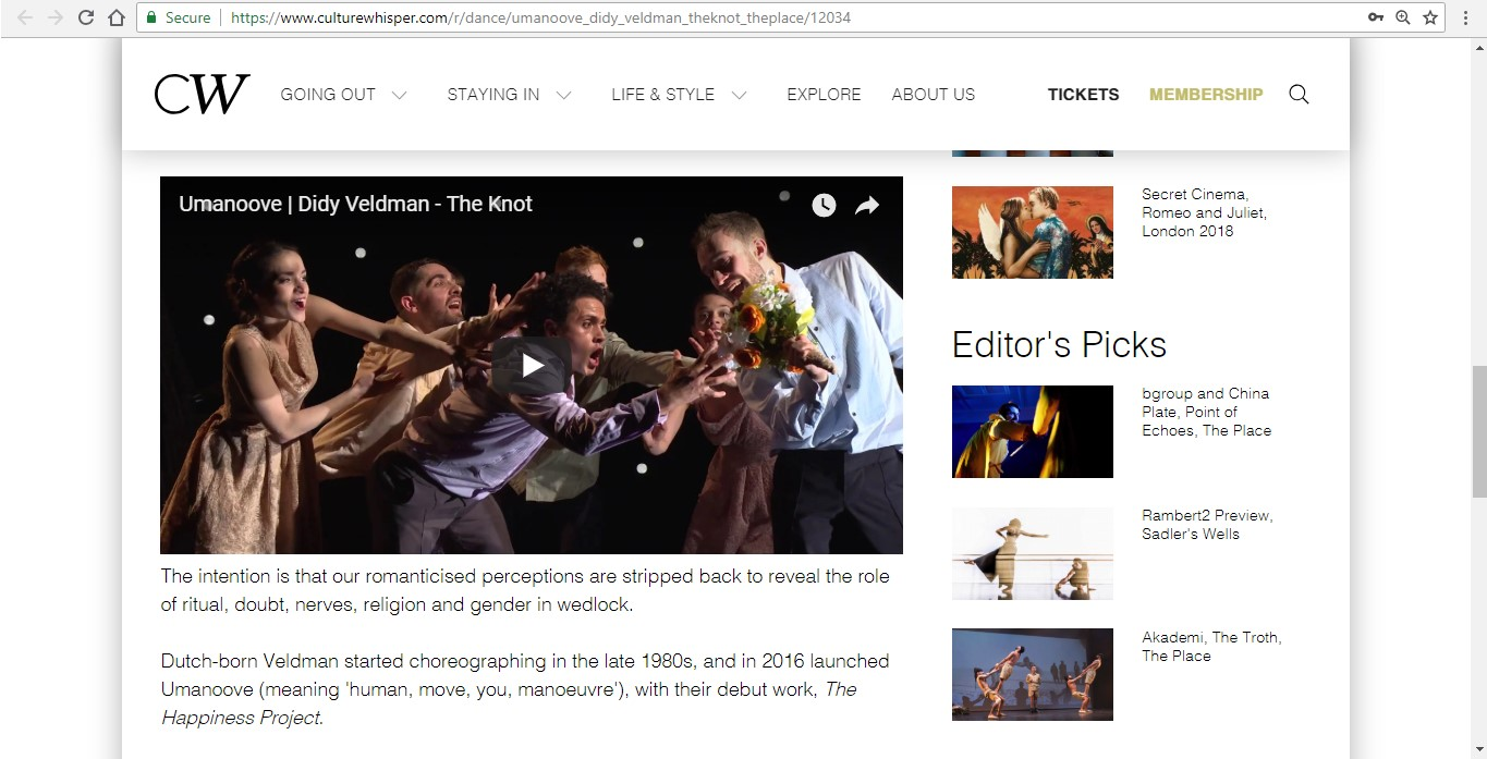 Screenshot of Culture Whisper content by Georgina Butler. Preview of Umanoove and Didy Veldman: The Knot, image 4