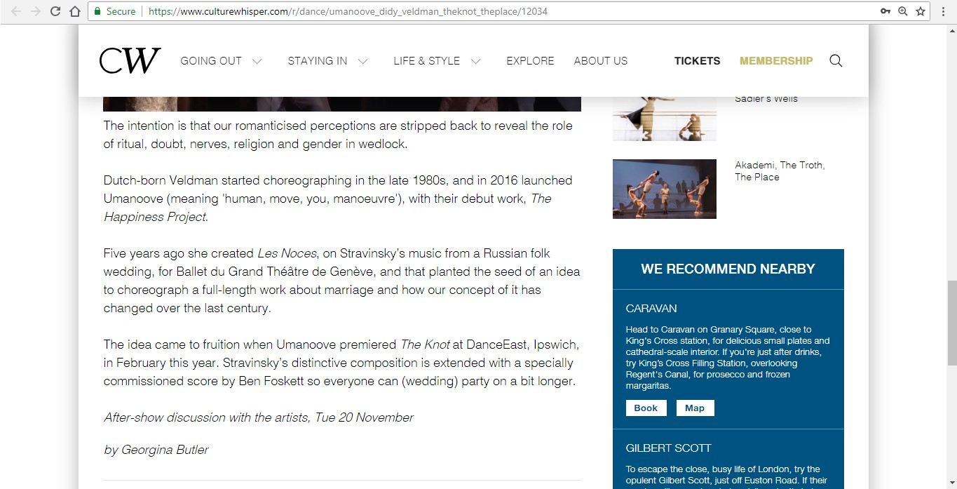 Screenshot of Culture Whisper content by Georgina Butler. Preview of Umanoove and Didy Veldman: The Knot, image 5
