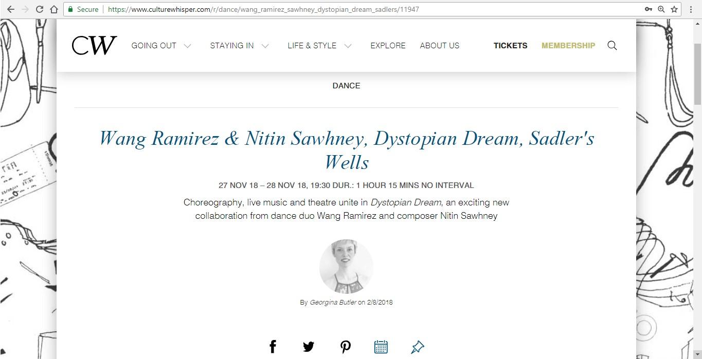 Screenshot of Culture Whisper content by Georgina Butler. Preview of Wang Ramirez and Nitin Sawhney: Dystopian Dream, image 1