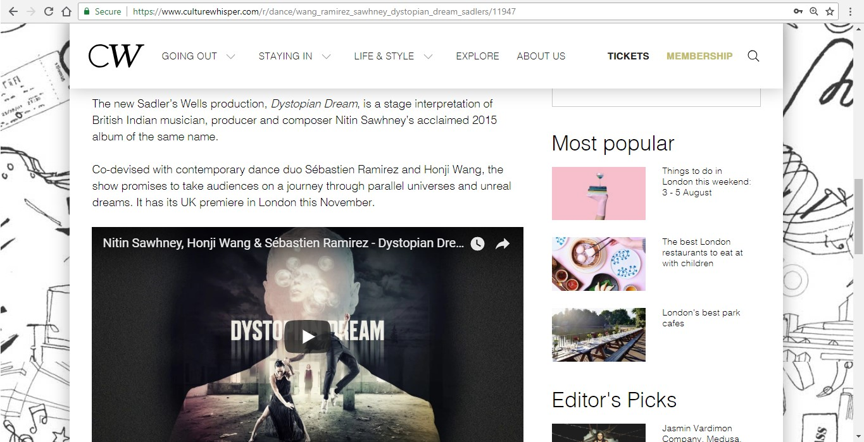 Screenshot of Culture Whisper content by Georgina Butler. Preview of Wang Ramirez and Nitin Sawhney: Dystopian Dream, image 3