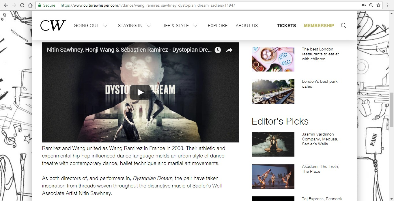Screenshot of Culture Whisper content by Georgina Butler. Preview of Wang Ramirez and Nitin Sawhney: Dystopian Dream, image 4