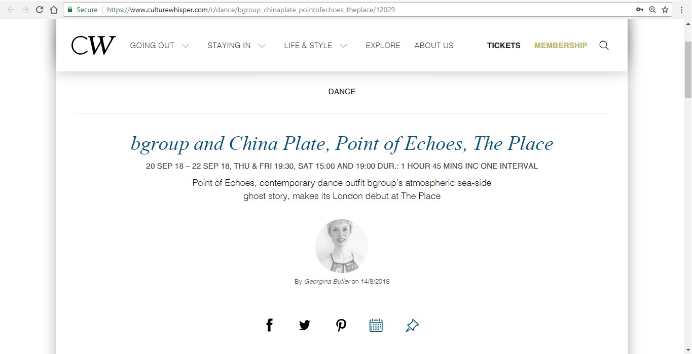 Screenshot of Culture Whisper content by Georgina Butler. Preview of bgroup and China Plate: Point of Echoes, image 1