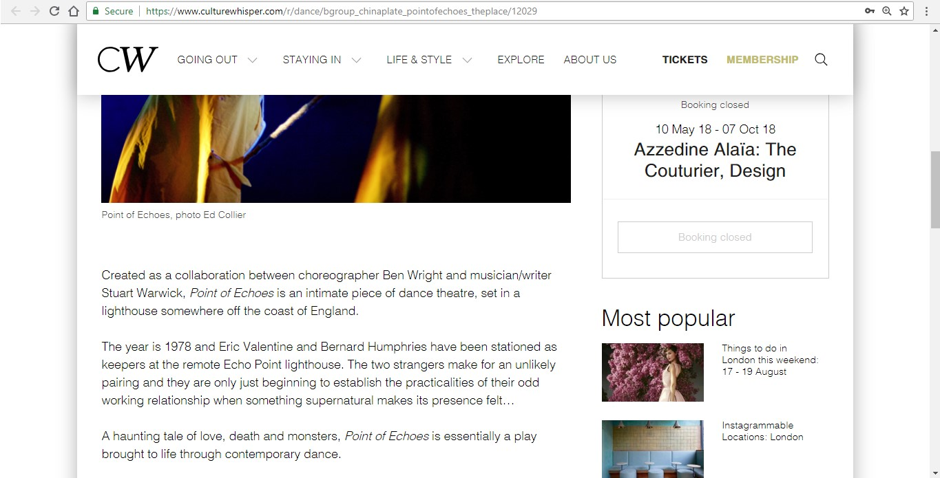 Screenshot of Culture Whisper content by Georgina Butler. Preview of bgroup and China Plate: Point of Echoes, image 3