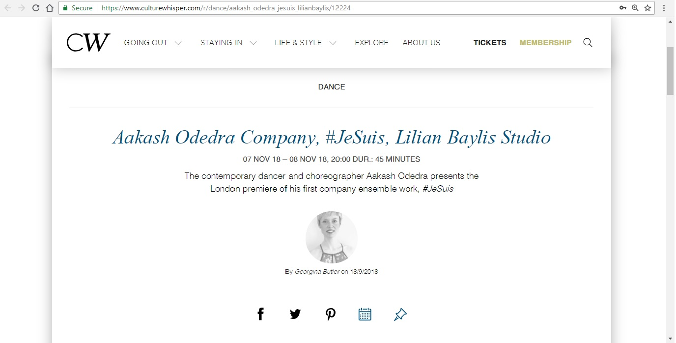 Screenshot of Culture Whisper content by Georgina Butler. Preview of Aakash Odedra Company: #JeSuis, image 1
