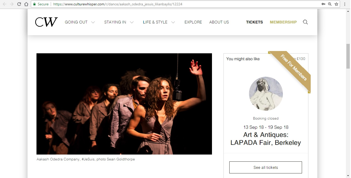 Screenshot of Culture Whisper content by Georgina Butler. Preview of Aakash Odedra Company: #JeSuis, image 2