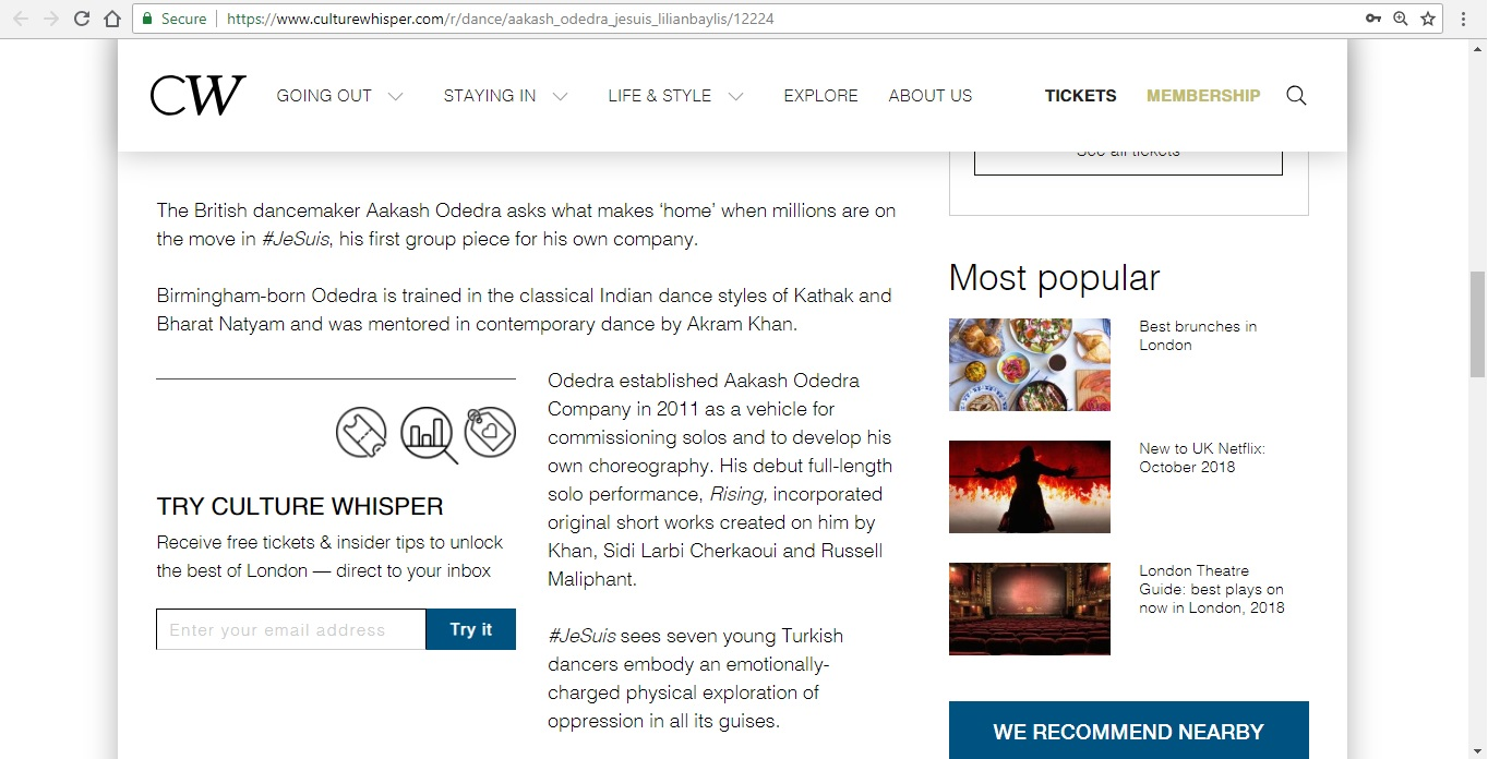 Screenshot of Culture Whisper content by Georgina Butler. Preview of Aakash Odedra Company: #JeSuis, image 3