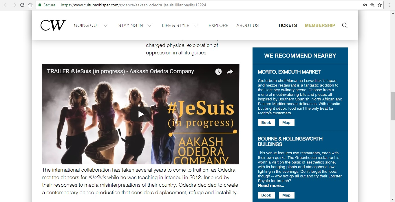 Screenshot of Culture Whisper content by Georgina Butler. Preview of Aakash Odedra Company: #JeSuis, image 4