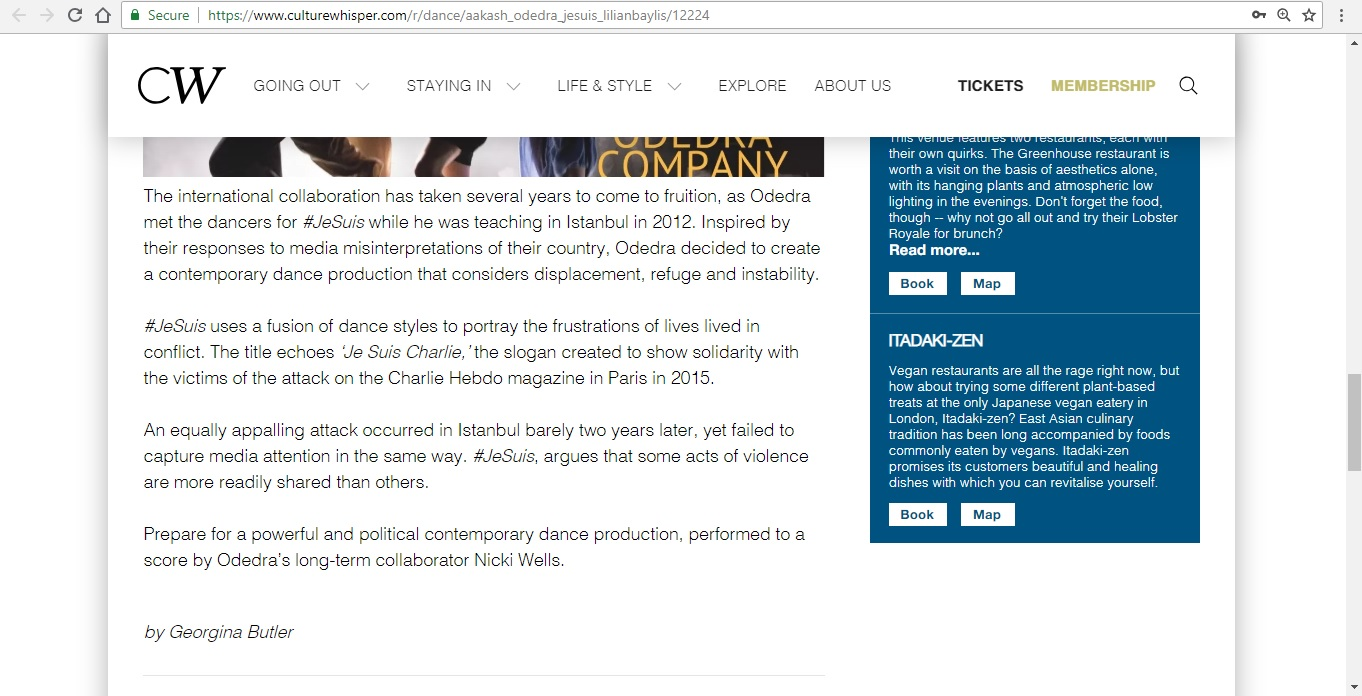 Screenshot of Culture Whisper content by Georgina Butler. Preview of Aakash Odedra Company: #JeSuis, image 5
