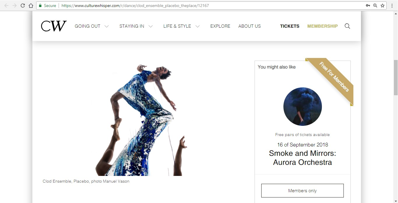 Screenshot of Culture Whisper content by Georgina Butler. Preview of Clod Ensemble: Placebo, image 2