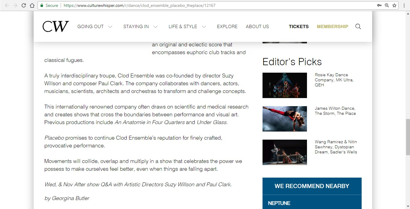 Screenshot of Culture Whisper content by Georgina Butler. Preview of Clod Ensemble: Placebo, image 4