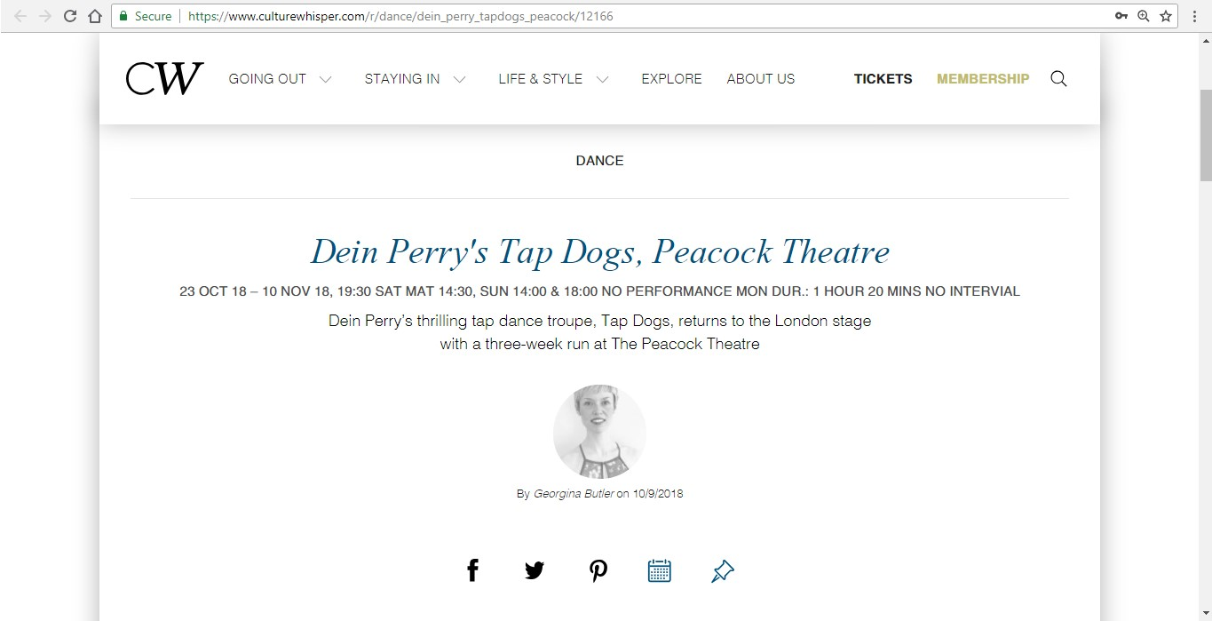 Screenshot of Culture Whisper content by Georgina Butler. Preview of Dein Perry's Tap Dogs, image 1