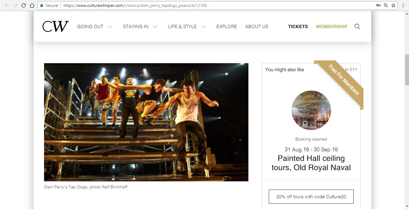 Screenshot of Culture Whisper content by Georgina Butler. Preview of Dein Perry's Tap Dogs, image 2