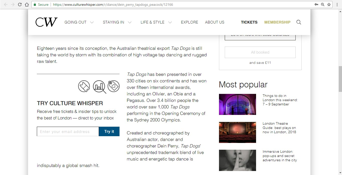 Screenshot of Culture Whisper content by Georgina Butler. Preview of Dein Perry's Tap Dogs, image 3
