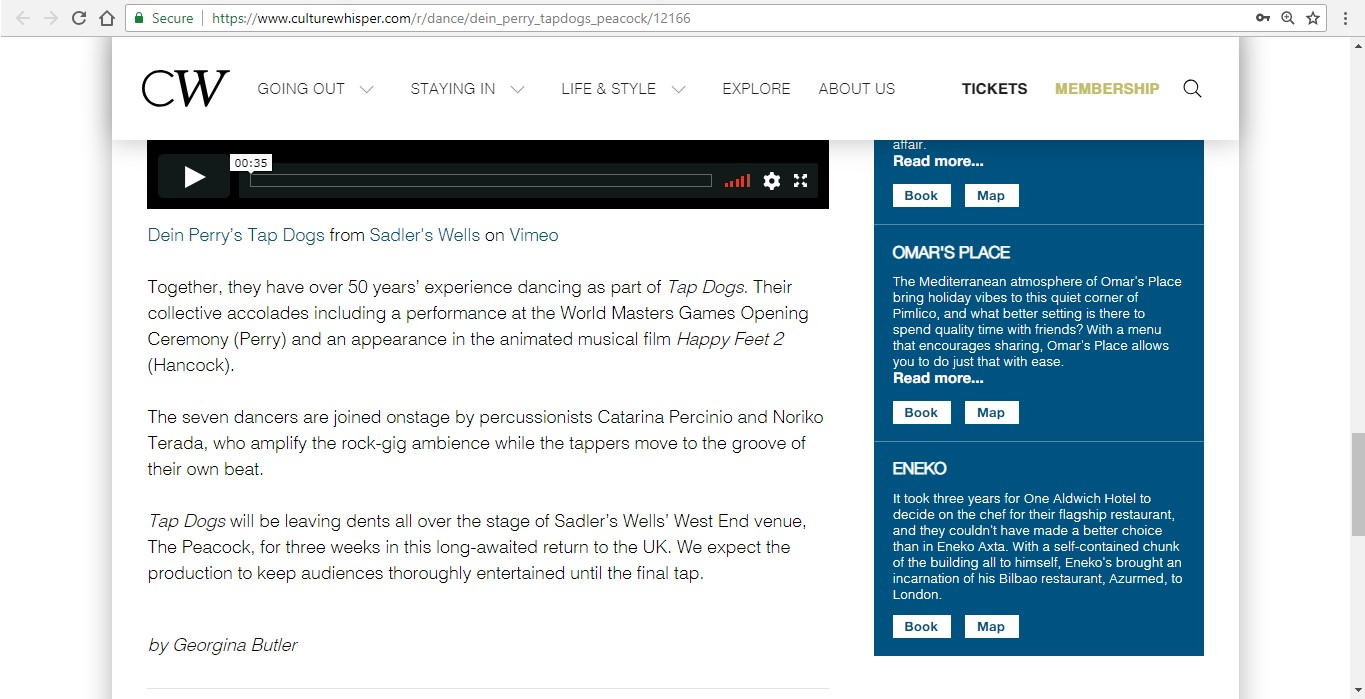 Screenshot of Culture Whisper content by Georgina Butler. Preview of Dein Perry's Tap Dogs, image 5