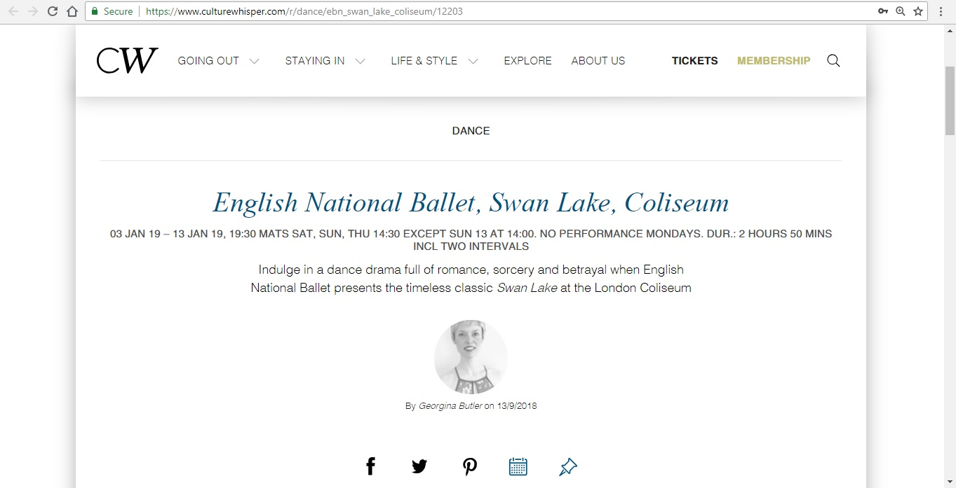Screenshot of Culture Whisper content by Georgina Butler. Preview of English National Ballet: Swan Lake, image 1