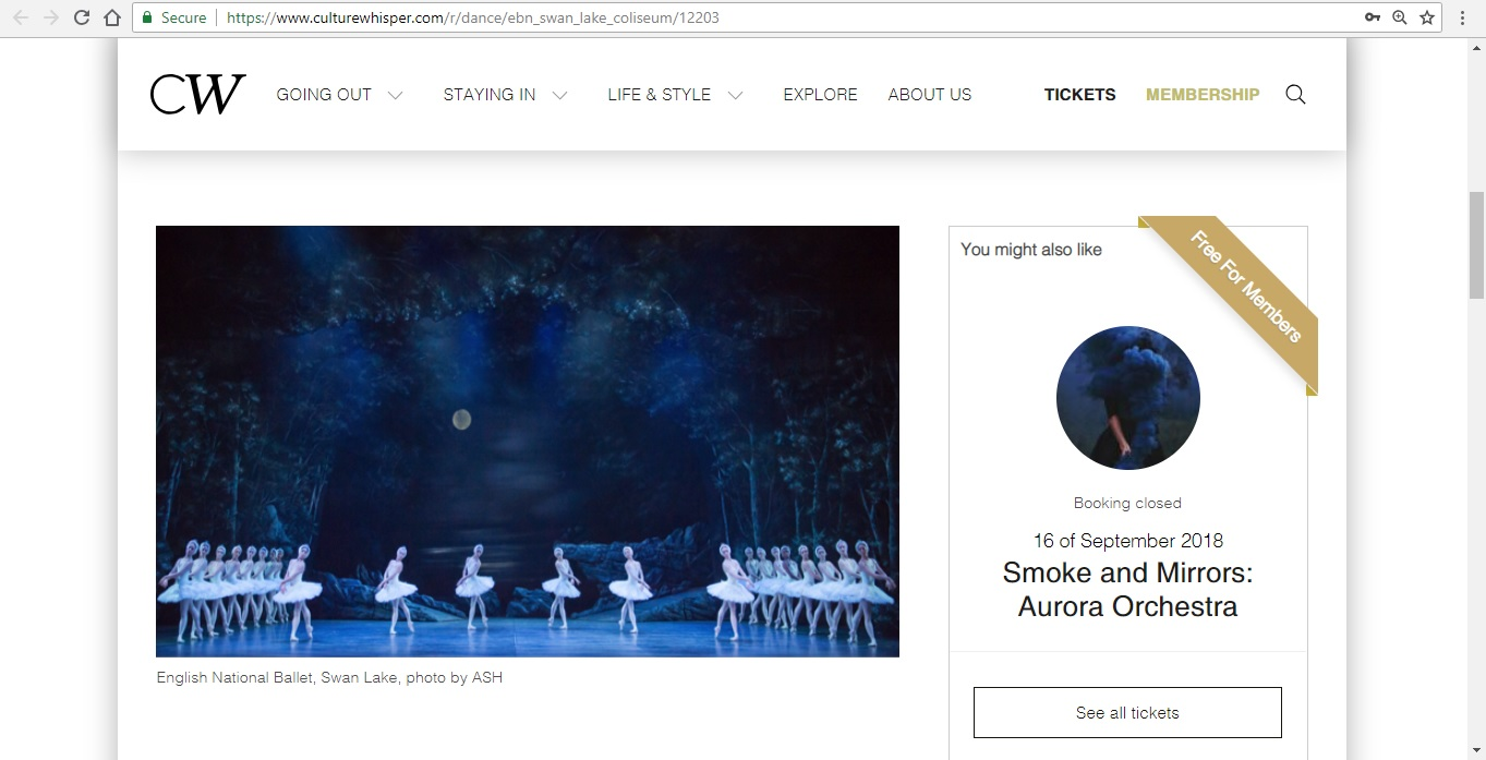 Screenshot of Culture Whisper content by Georgina Butler. Preview of English National Ballet: Swan Lake, image 2