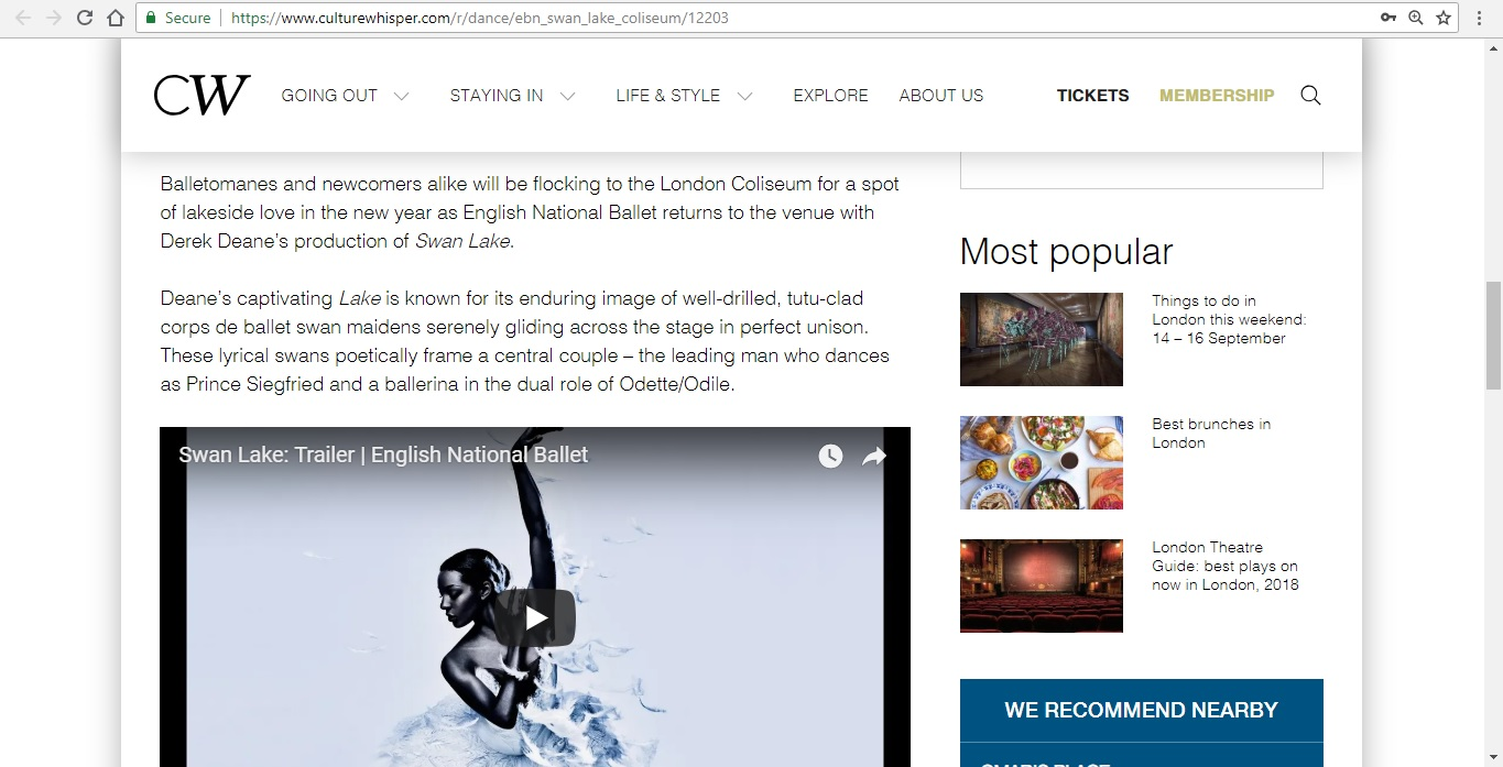 Screenshot of Culture Whisper content by Georgina Butler. Preview of English National Ballet: Swan Lake, image 3