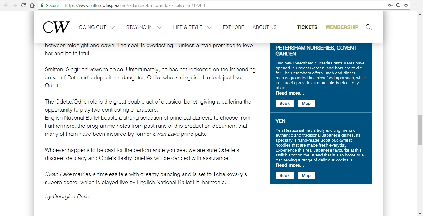 Screenshot of Culture Whisper content by Georgina Butler. Preview of English National Ballet: Swan Lake, image 5