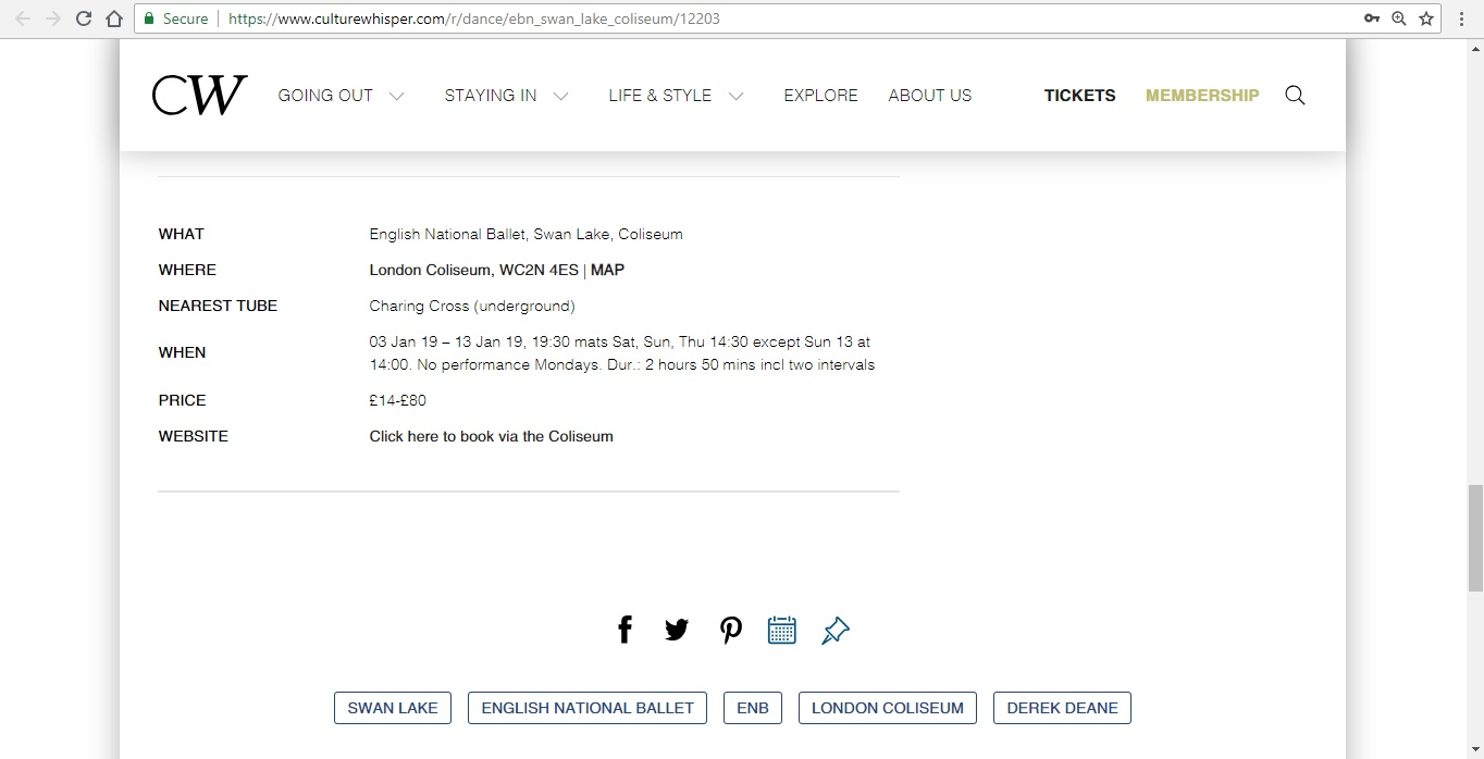 Screenshot of Culture Whisper content by Georgina Butler. Preview of English National Ballet: Swan Lake, image 6