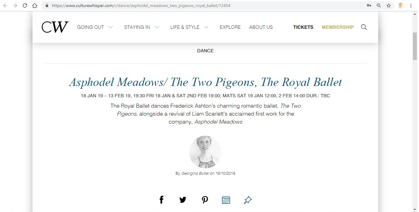 Screenshot of Culture Whisper content by Georgina Butler. Preview of The Royal Ballet: Asphodel Meadows / The Two Pigeons, image 1