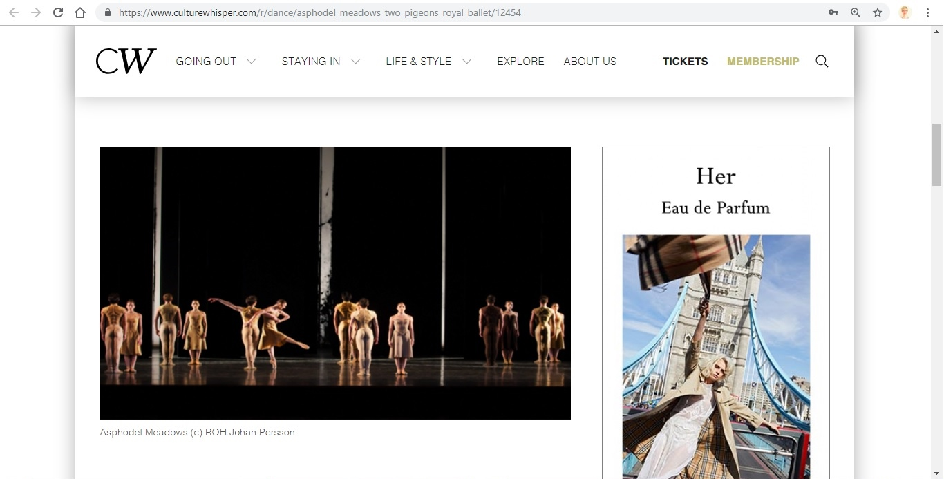 Screenshot of Culture Whisper content by Georgina Butler. Preview of The Royal Ballet: Asphodel Meadows / The Two Pigeons, image 2