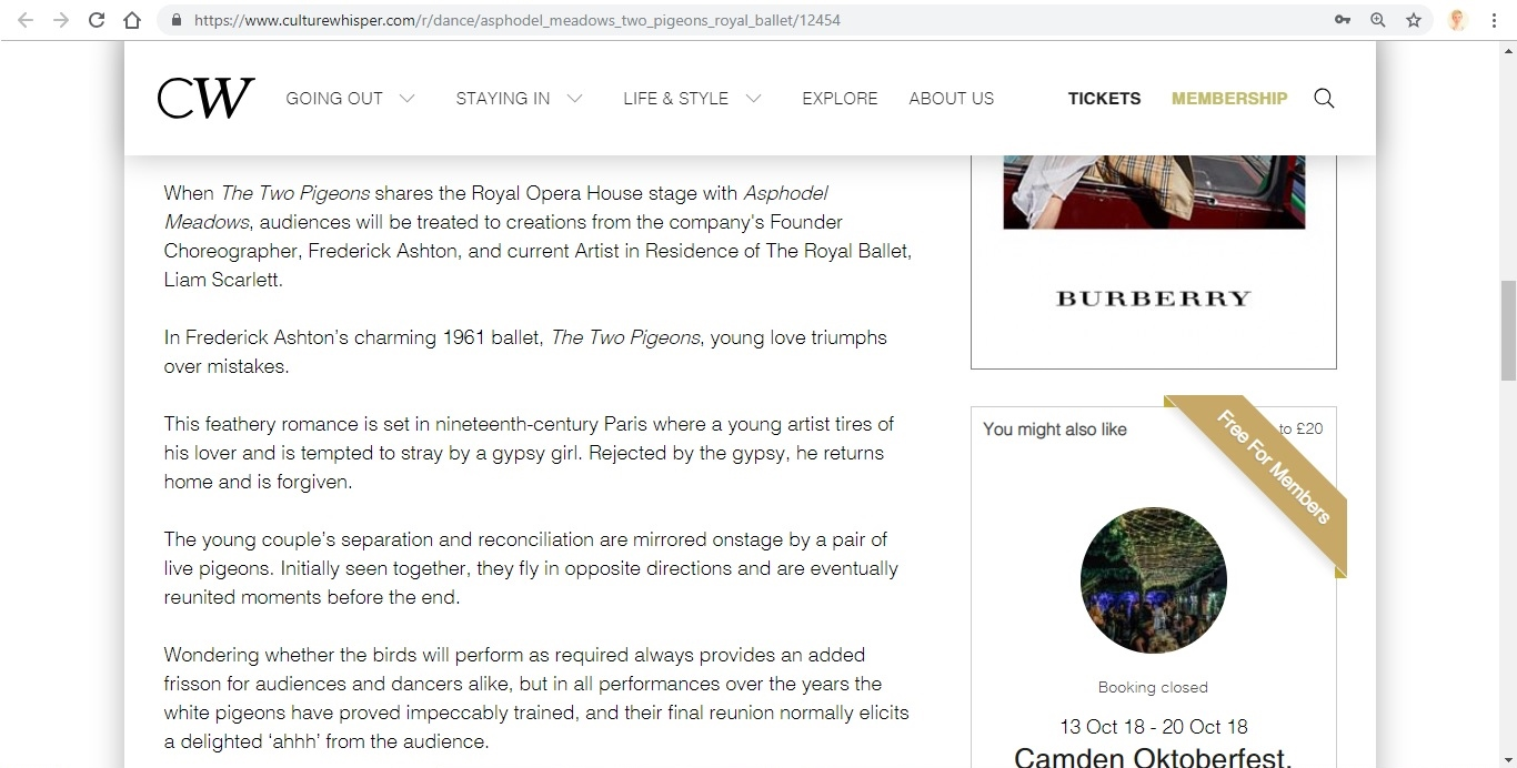 Screenshot of Culture Whisper content by Georgina Butler. Preview of The Royal Ballet: Asphodel Meadows / The Two Pigeons, image 3