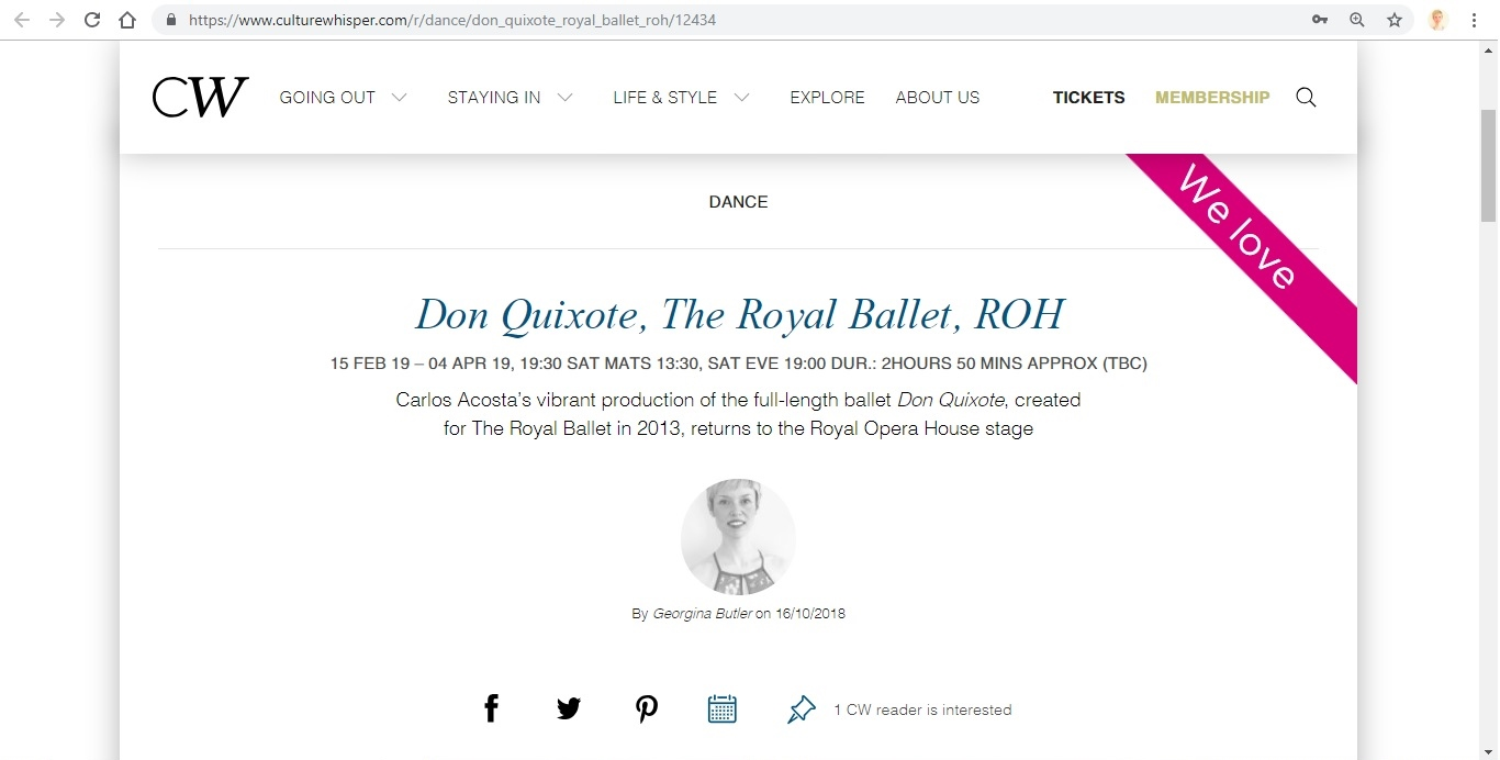 Screenshot of Culture Whisper content by Georgina Butler. Preview of The Royal Ballet: Don Quixote, image 1
