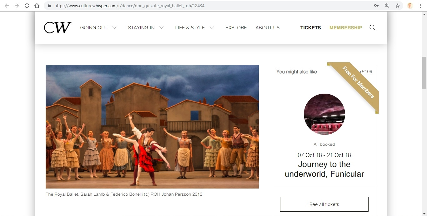 Screenshot of Culture Whisper content by Georgina Butler. Preview of The Royal Ballet: Don Quixote, image 2