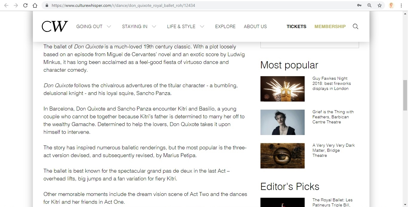 Screenshot of Culture Whisper content by Georgina Butler. Preview of The Royal Ballet: Don Quixote, image 3
