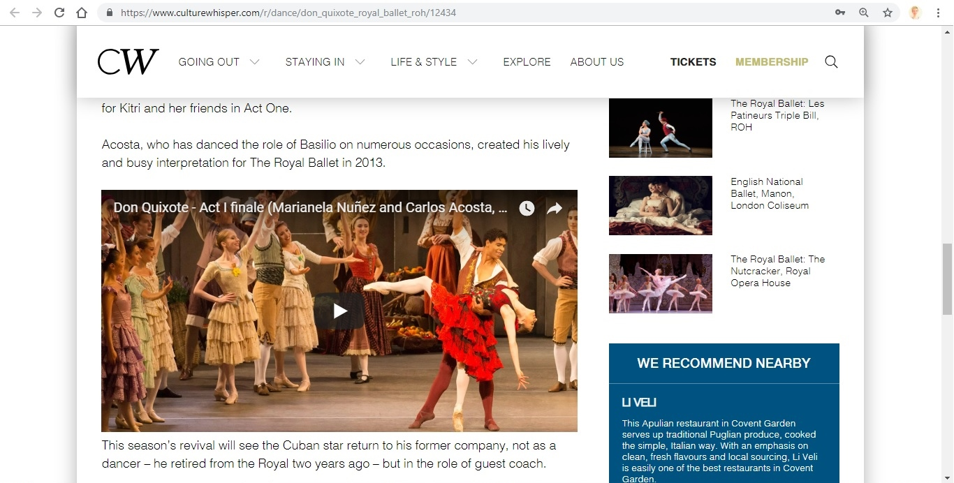 Screenshot of Culture Whisper content by Georgina Butler. Preview of The Royal Ballet: Don Quixote, image 4