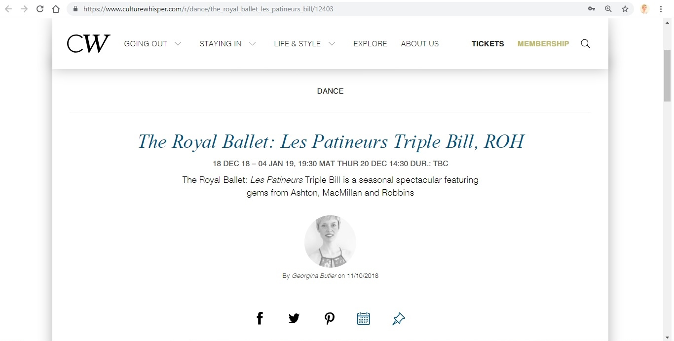 Screenshot of Culture Whisper content by Georgina Butler. Preview of The Royal Ballet: Les Patineurs Triple Bill, image 1