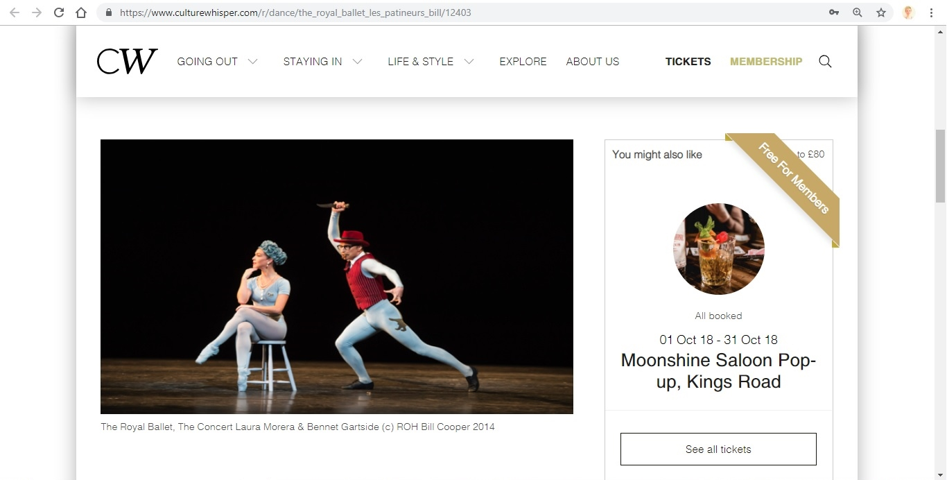 Screenshot of Culture Whisper content by Georgina Butler. Preview of The Royal Ballet: Les Patineurs Triple Bill, image 2
