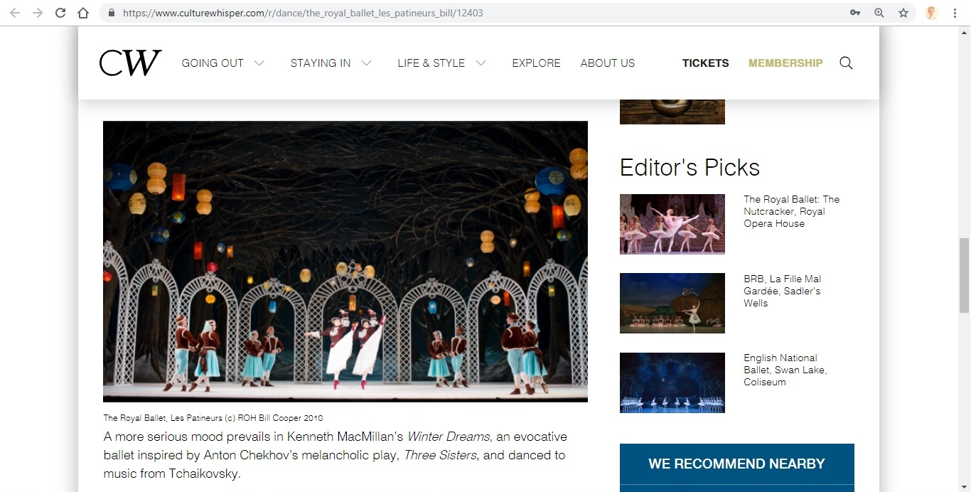 Screenshot of Culture Whisper content by Georgina Butler. Preview of The Royal Ballet: Les Patineurs Triple Bill, image 4