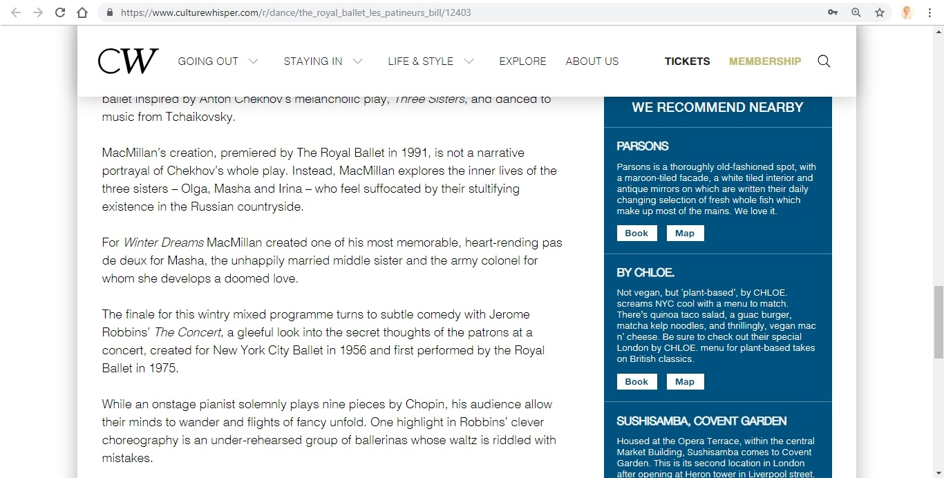 Screenshot of Culture Whisper content by Georgina Butler. Preview of The Royal Ballet: Les Patineurs Triple Bill, image 5