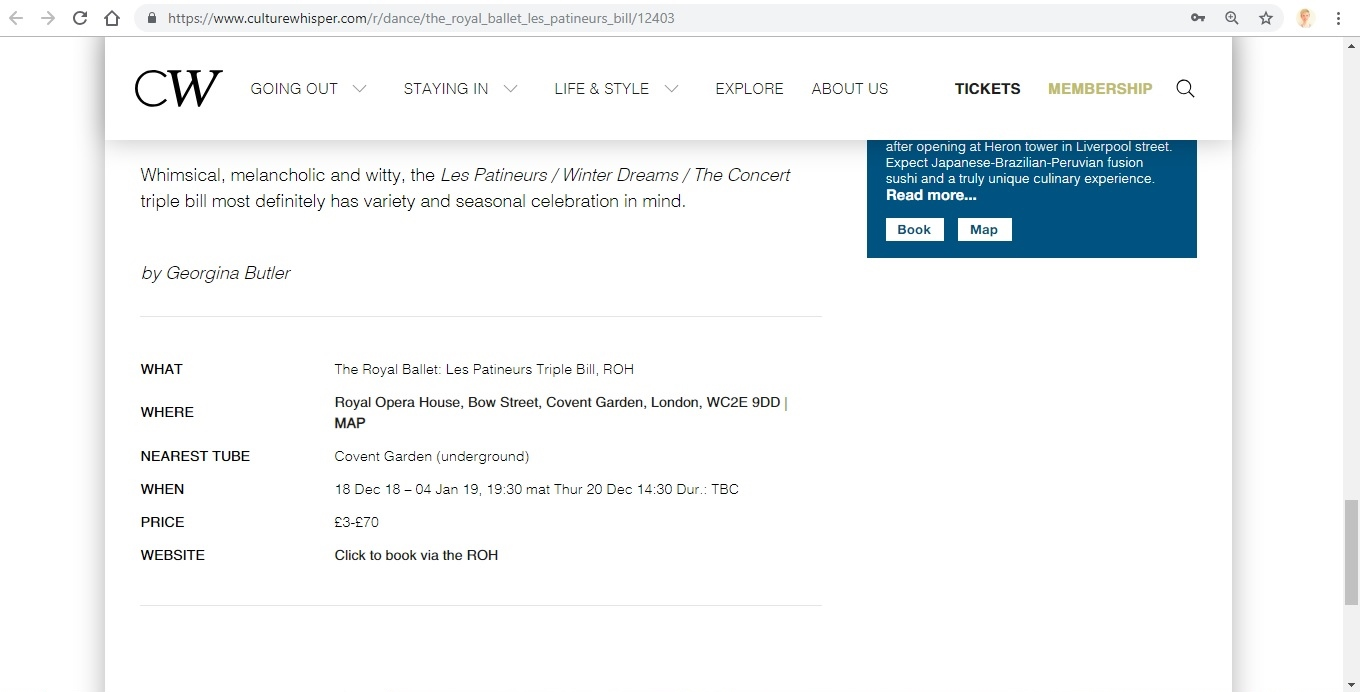 Screenshot of Culture Whisper content by Georgina Butler. Preview of The Royal Ballet: Les Patineurs Triple Bill, image 6