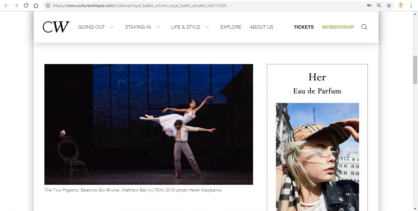 Screenshot of Culture Whisper content by Georgina Butler. Preview of The Royal Ballet: Royal Ballet School / The Two Pigeons, image 2