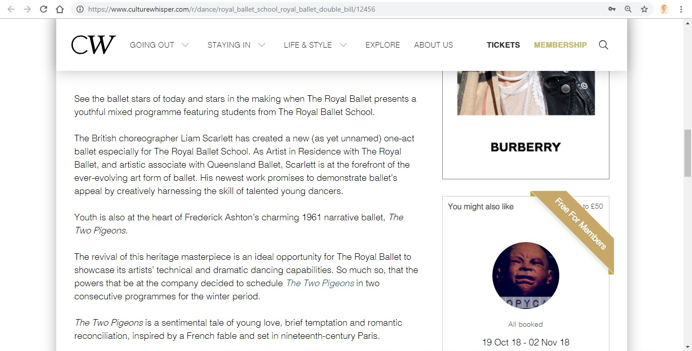 Screenshot of Culture Whisper content by Georgina Butler. Preview of The Royal Ballet: Royal Ballet School / The Two Pigeons, image 3