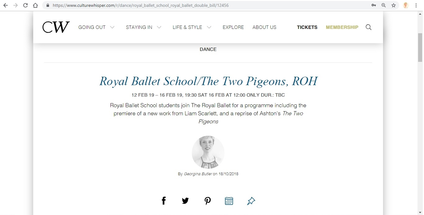 Screenshot of Culture Whisper content by Georgina Butler. Preview of The Royal Ballet: Royal Ballet School / The Two Pigeons, image 1