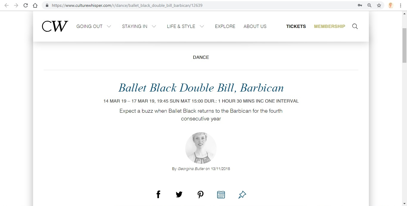 Screenshot of Culture Whisper content by Georgina Butler. Preview of Ballet Black: Double Bill, image 1