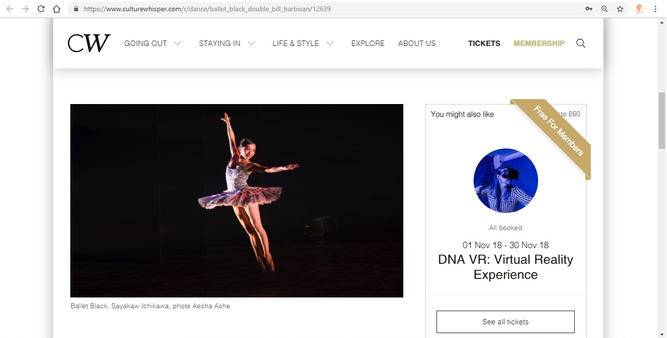 Screenshot of Culture Whisper content by Georgina Butler. Preview of Ballet Black: Double Bill, image 2