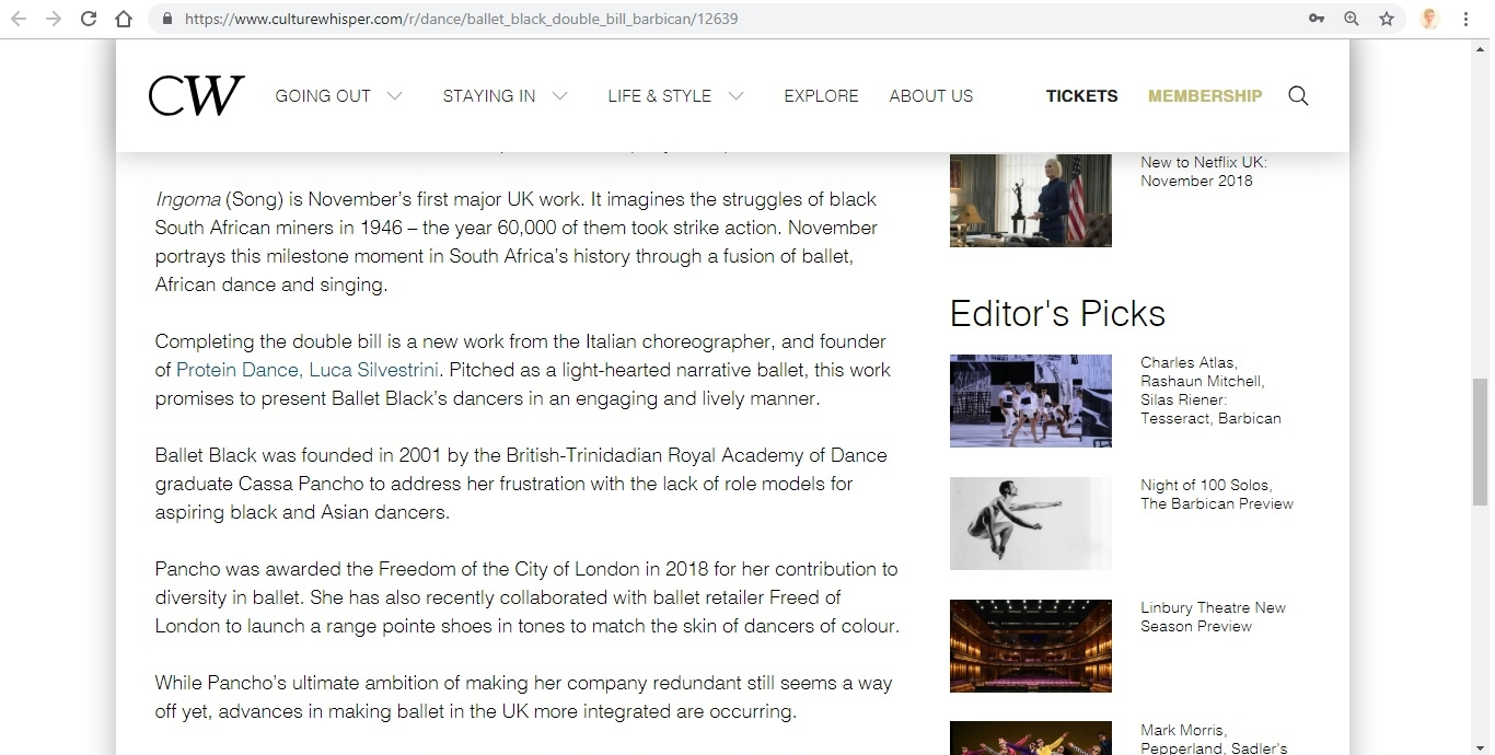 Screenshot of Culture Whisper content by Georgina Butler. Preview of Ballet Black: Double Bill, image 4