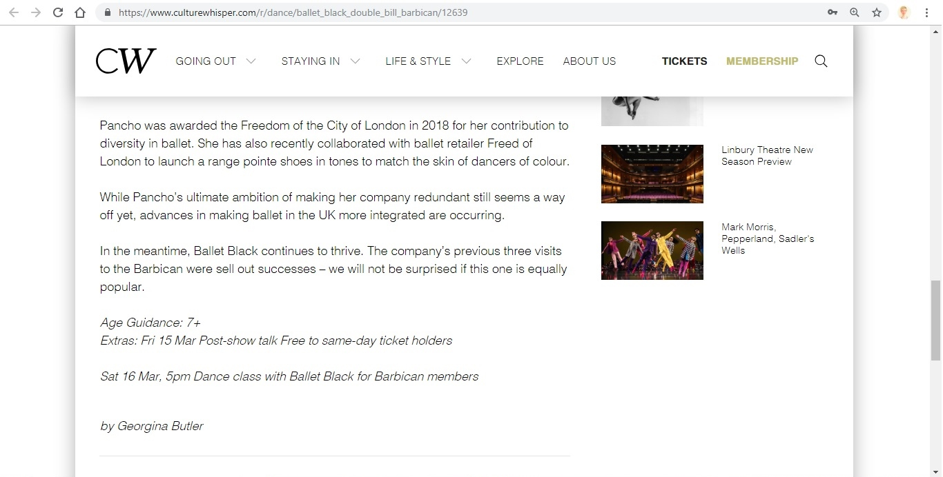 Screenshot of Culture Whisper content by Georgina Butler. Preview of Ballet Black: Double Bill, image 5